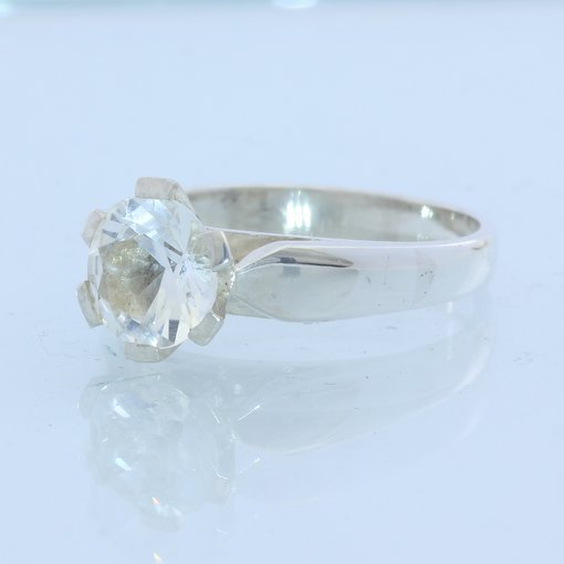 Sparkling White Topaz Gemstone Sterling Silver Ladies Solitaire Ring size 9.5