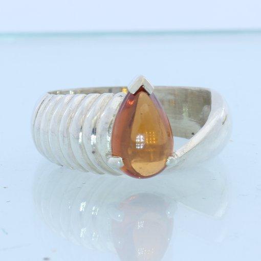 Orange Spessartine Garnet Cab Handmade Unisex Gents Ladies Silver Ring size 6.5