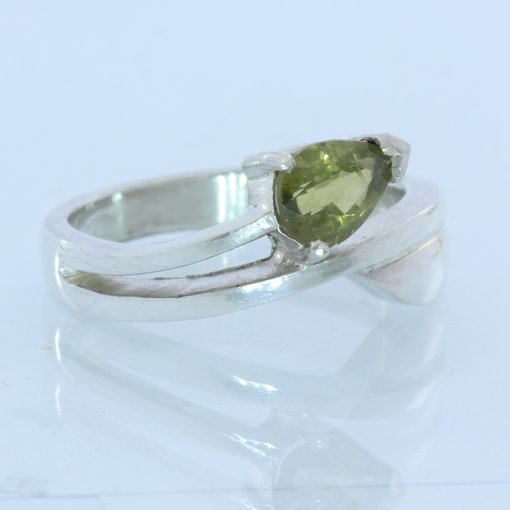Peridot Pear Handmade Sterling Silver Ladies Ring, Birthstone of August size 6.5