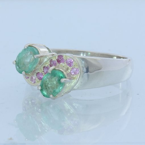 Green Emerald and Pink Sapphire Handmade Sterling Silver Ladies Ring size 7.5