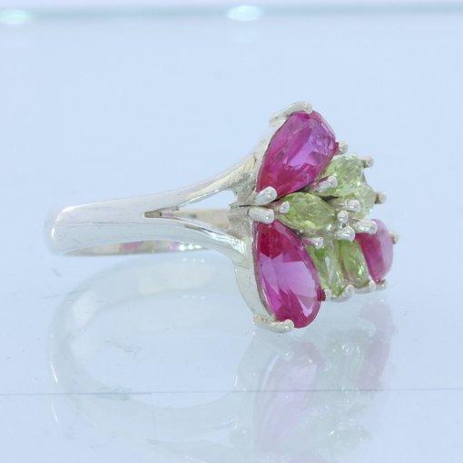 Lab Ruby Peridot Gemstone Handmade Sterling 925 Silver Ladies Floral Ring size 8
