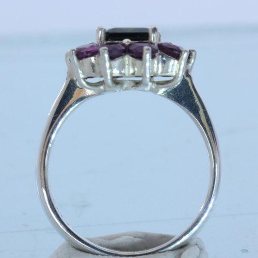 Green Tourmaline Red Purple Rhodolite Garnets Handmade Silver Ladies Ring size 7