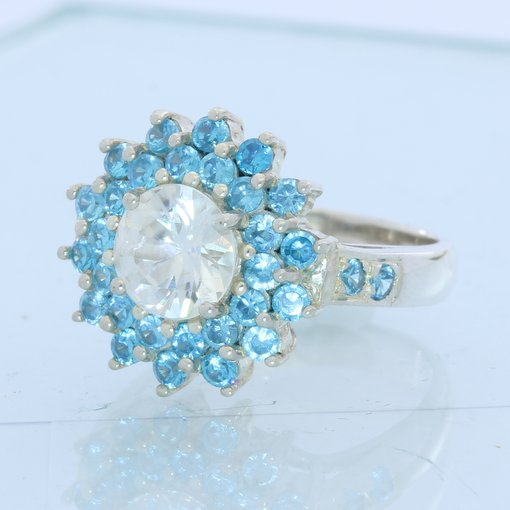 White and Swiss Blue Topaz Handmade 925 Silver Double Halo Ladies Ring size 7.25