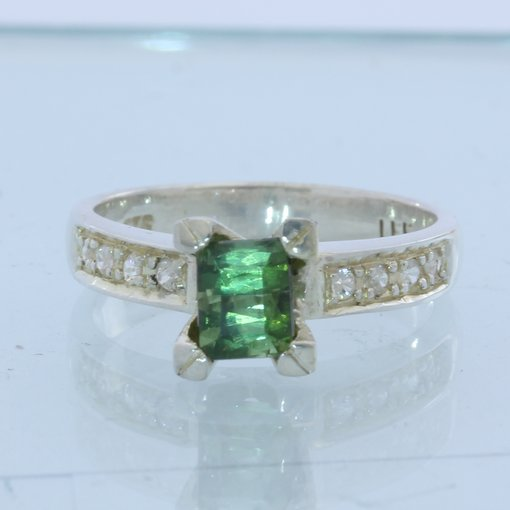 Green Tourmaline with White Sapphire Handmade Sterling Silver Ladies Ring size 6