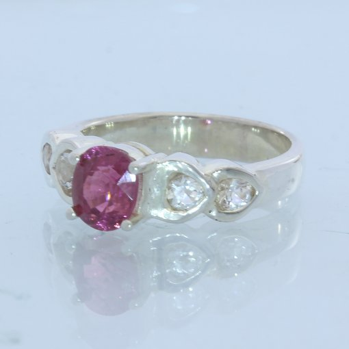 Purple Pink Spinel and White Topaz Handmade Silver Ladies Heart Ring size 6.75
