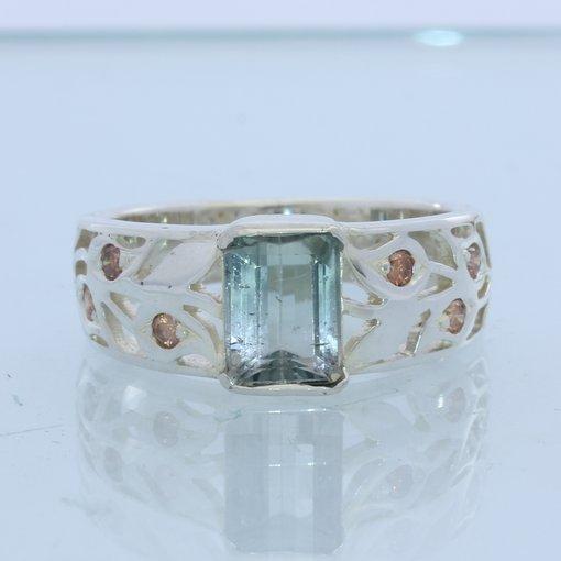Light Green Tourmaline Orange Zircon Unisex Gents Ladies Silver Ring size 8.5