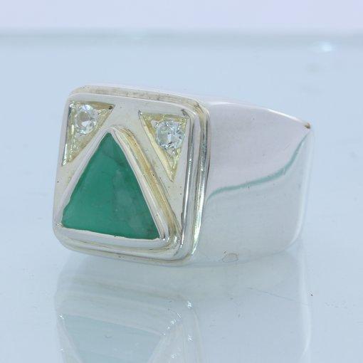 All Beryl Green Emerald and Goshenite Handmade 925 Sterling Gents Ring size 9.25