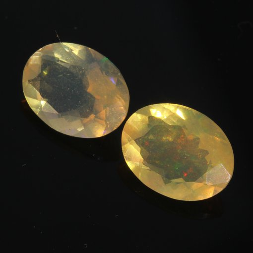 Matched Pair Welo Opal Faceted 8x6 mm Ovals Ethiopian Yellow Base 1.57 carat