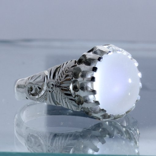 Moonstone Blue Adularescence Flower Angels Style Silver Ladies Ring size 6.25