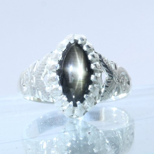 Thailand Star Black Sapphire Flower Angels Style 925 Silver Ladies Ring size 7.5