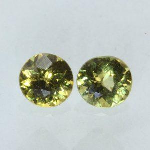 Pair Mali Light Yellowish Green Grossular Garnet Round Gemstone 1.11 carat