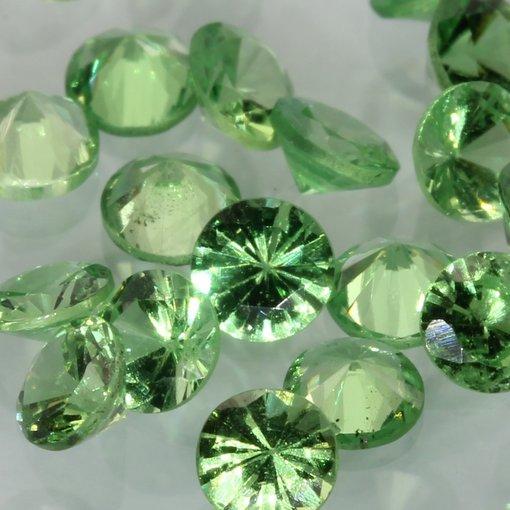 One Green Tsavorite Accent Gem 3.0 mm Diamond Cut Round Average .10 carat each