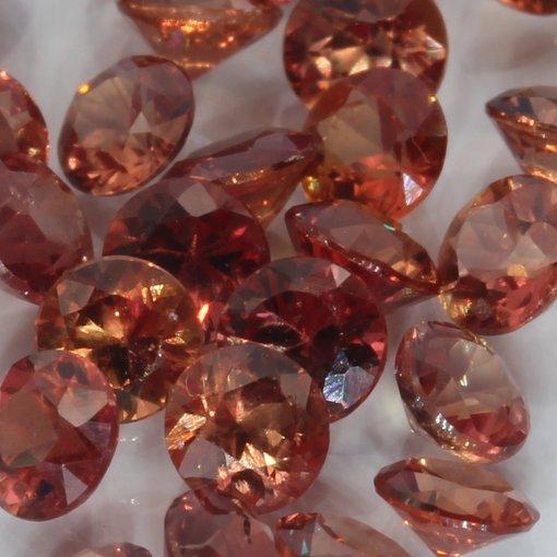 One Red Orange Sapphire Accent Gem 3 mm Diamond Cut Round Average .13 carat each