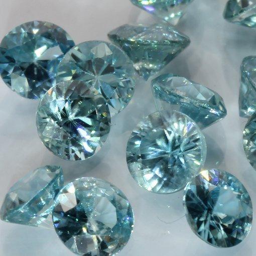 One Sky Blue Zircon Accent Gem 3.5 mm Diamond Cut Round Average .25 carat each