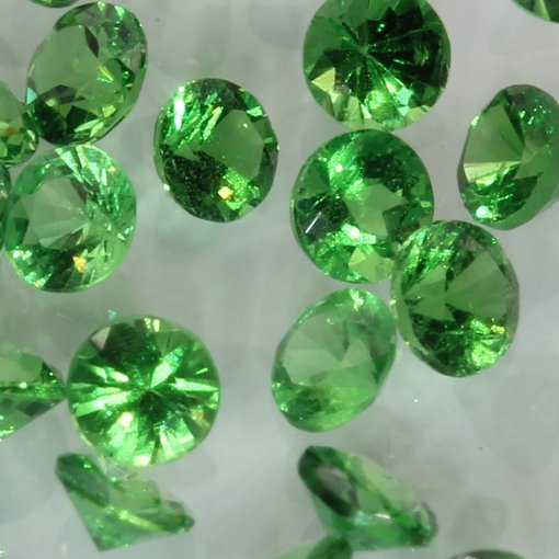 One Green Tsavorite Accent Gem 2.5 mm Diamond Cut Round Average .06 carat each