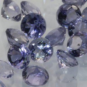 One Purple Blue Iolite 2.5 mm Faceted Round Diamond Cut Average .06 carat each