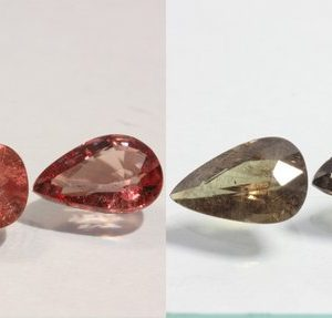 Pair Color Change Garnet Green Red Faceted Pear Untreated Gemstones 2.37 carat