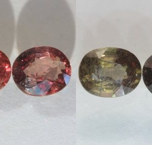 Pair Color Change Garnet Red Green Faceted Ovals Untreated 2.56 carat total