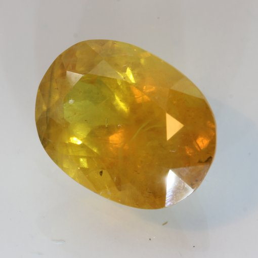 Sparkling Yellow Sapphire Faceted Oval Be Heated Natural Gemstone 7.54 carat