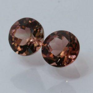 Pair Orange Purplish Pink Tourmaline Faceted Round Brazil Gemstone 2.15 carat