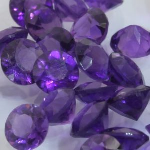 One Amethyst Accent Gemstone 3.5 mm Faceted Round VS Clarity Average .14 carat