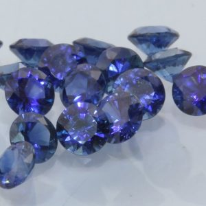 One Royal Blue Sapphire Accent Gem 3mm Diamond Cut Round Average .11 carat each