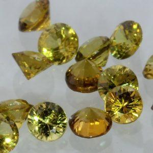 One Yellow Mali Garnet Accent Gem 2.5 mm Faceted Round Average .07 carat each