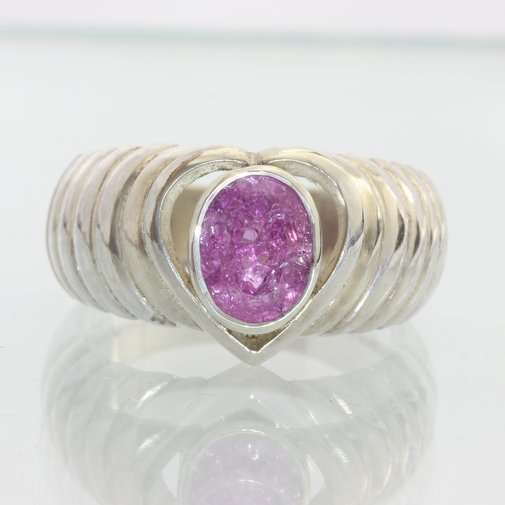 Lab Created Hot Pink Sapphire Handmade Sterling 925 Silver Ladies Ring size 8