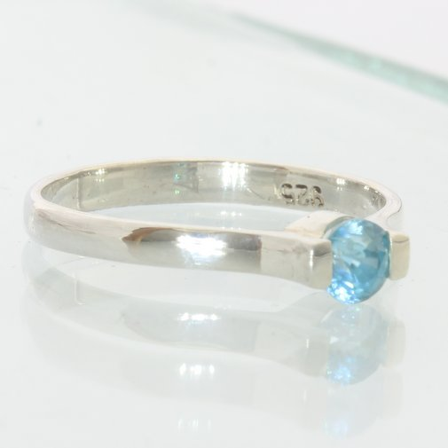 Blue Zircon Handmade Sterling Silver Unisex Stackable Solitaire Ring size 6.25