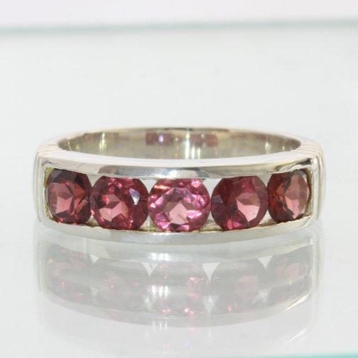 Red Garnet Gems Handmade Sterling 925 Silver Unisex Gents Channel Ring size 9.75