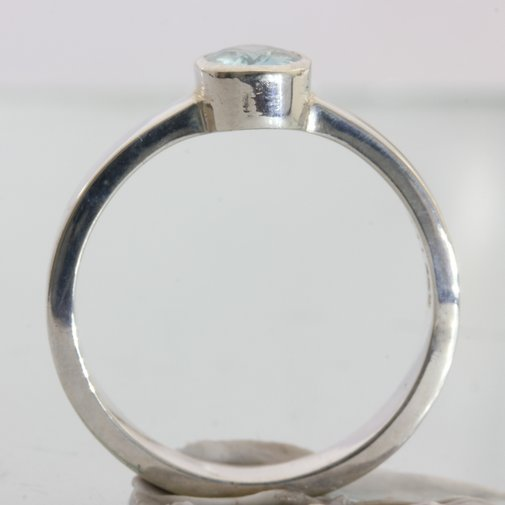 Light Blue Zircon Handmade 925 Silver Unisex Stackable Solitaire Ring size 9.25