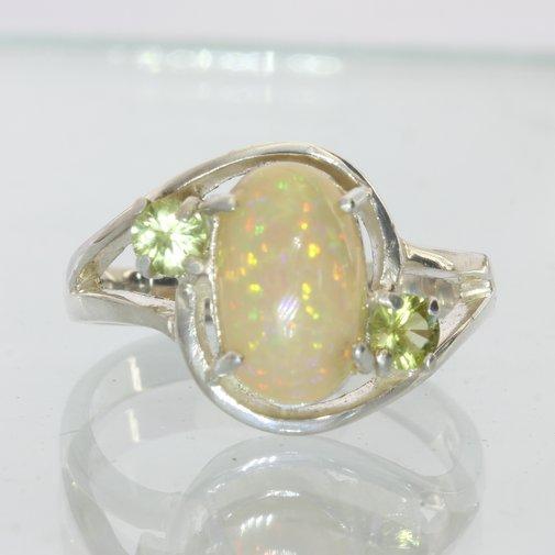 Welo Opal and Demantoid Garnet Handmade Sterling Silver Ladies Ring size 7.75