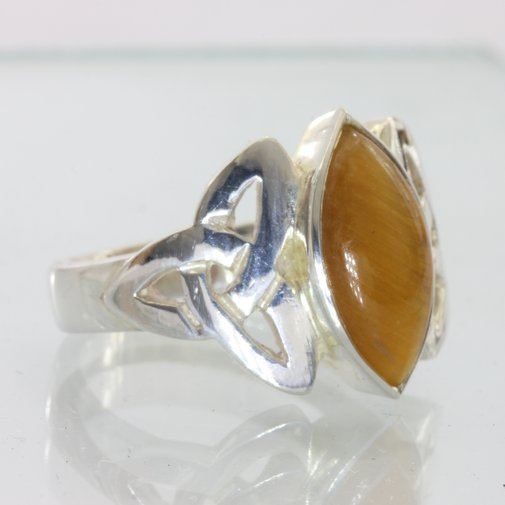 Tigers Eye Handmade Sterling Silver Tiger Eye Celtic Knot Unisex Ring size 9.25