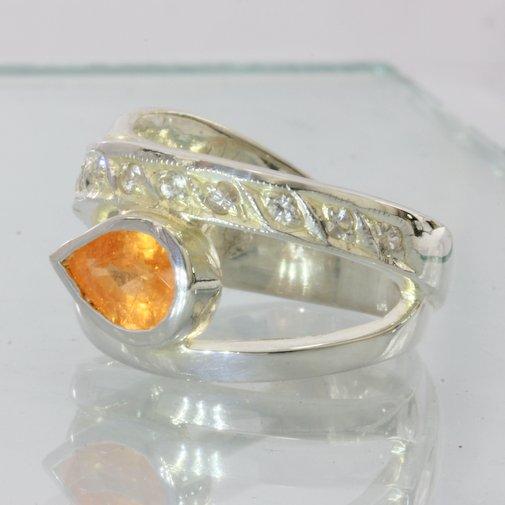 Fanta Orange Spessartite White Sapphire Handmade Silver Ladies Ring size 8.25