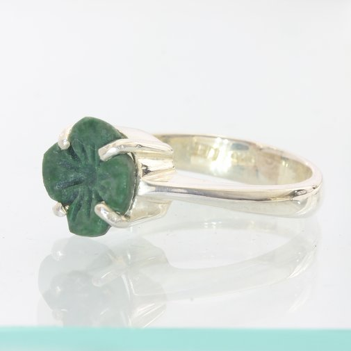 Maw Sit Sit Flower Carving Solitaire Handmade Sterling Silver Ladies Ring size 5