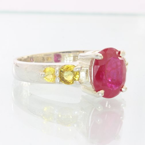 Lab Flux Veil Red Ruby Yellow Sapphire Sterling Silver Ladies Ring size 10