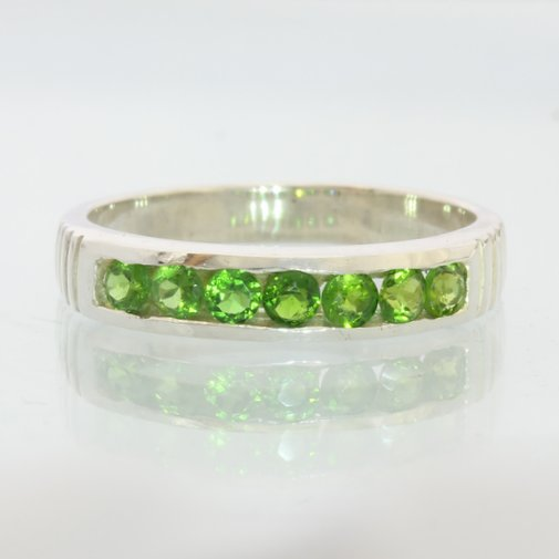 Green Chrome Diopside Handmade Silver Unisex Gents Ladies Channel Ring size 7.75