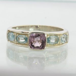 Purple Spinel with Light Blue Zircon Handmade Sterling Silver Unisex Ring size 9