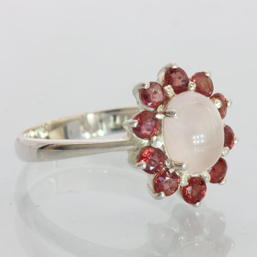 Pink Tourmaline with Red Sapphire Halo Handmade Silver Ladies Ring size 10.25