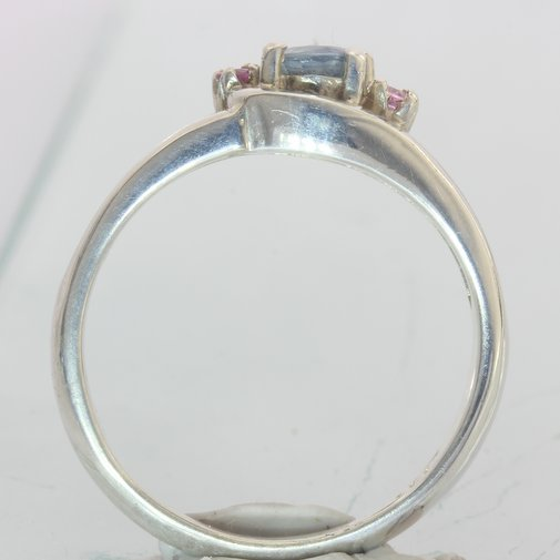 Natural Blue and Pink Sapphires Handmade Sterling Silver Ladies Ring size 7.25