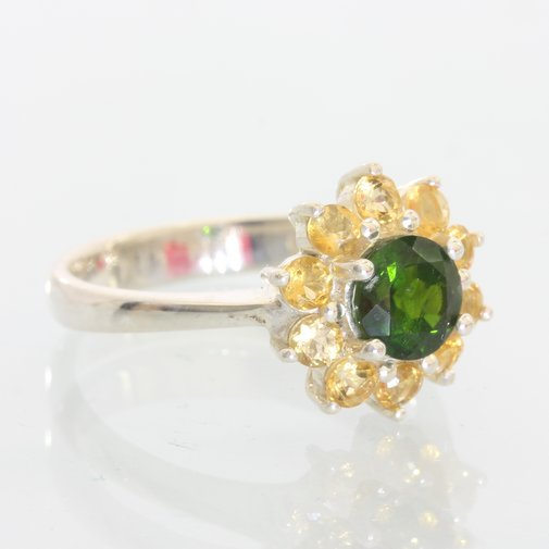 Chrome Diopside and Citrine Halo Handmade Sterling Silver Ladies Ring size 7.75