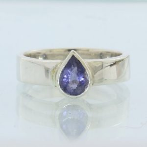 Purple Blue Iolite Pear Faceted Handmade Sterling Silver Ladies Ring size 7.25