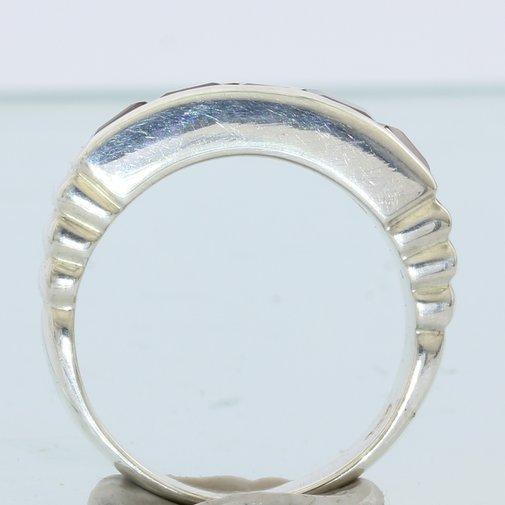 Almandine Garnet Faceted Square Handmade Sterling Silver Ladies Ring size 6.75