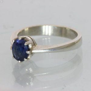 Dark Blue Sapphire Handmade Silver Ladies Ring, Birthstone of September size 5.5