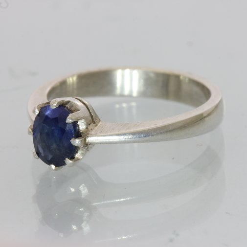 Dark Blue Sapphire Handmade Silver Ladies Ring, Birthstone of September size 5.5