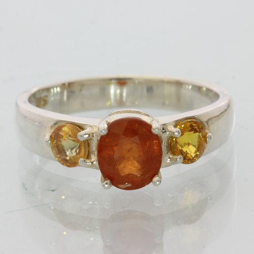 Spessartite and Sapphire Gemstone Handmade Sterling Silver Ladies Ring size 7.5