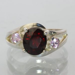 Garnet and Pink Tourmaline Gemstones Handmade Sterling Silver Ladies Ring size 7