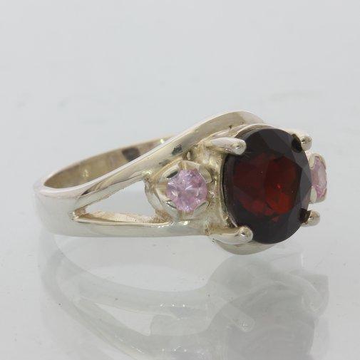 Garnet and Pink Tourmaline Gemstones Handmade Sterling Silver Ladies Ring size 7