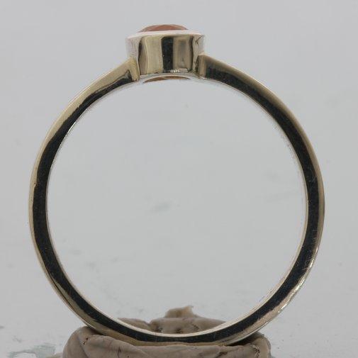 Fanta Orange Garnet Oval Handmade Silver Unisex Stacking Solitaire Ring sz. 9.25