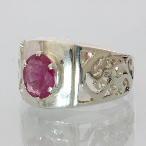Pink Ruby no leaded glass Faceted Oval Handmade Silver Unisex Ajoure Ring size 9